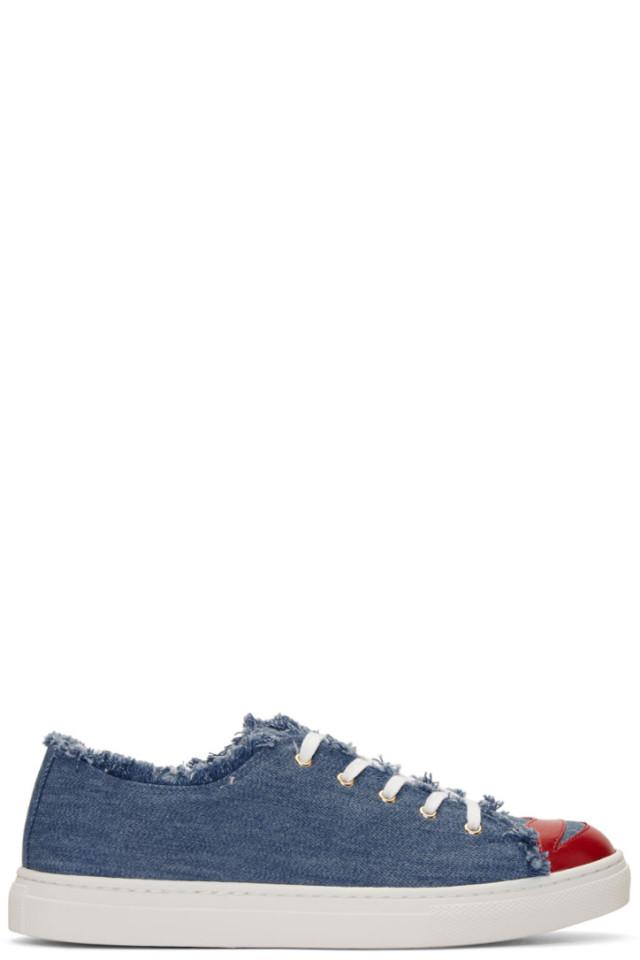 Blue Denim Kiss Me Sneakers Charlotte Olympia Good Selling GzfR9wZLi