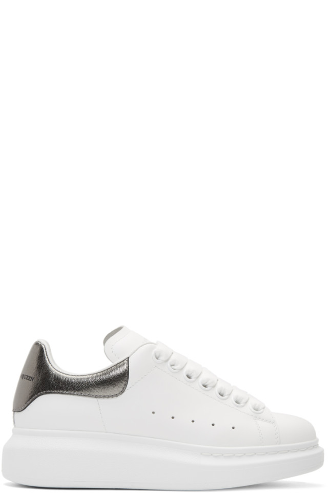 Alexander McQueen White & Grey Metallic Oversized Sneakers 2014 newest discount best prices cheap sale original cheap sale browse QtkA4MqI