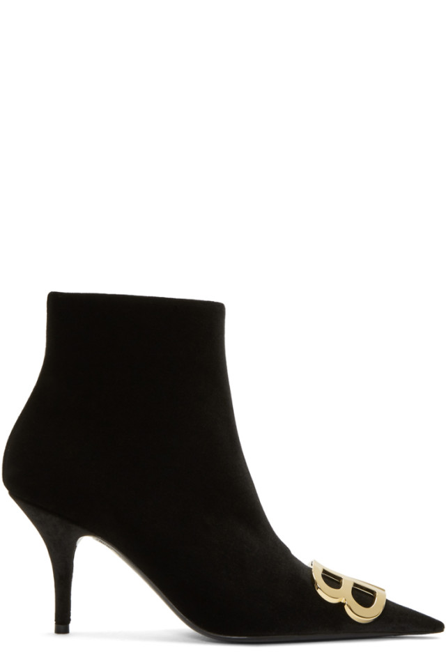 Black Velvet Logo Plaque Boots Balenciaga KKk9Vy