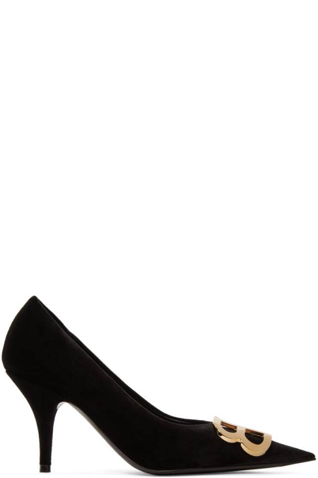 Balenciaga Black Velvet BB Heels qY693z9mcB