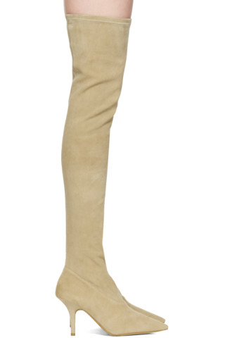 Yeezy Taupe Suede Thigh-High Boots