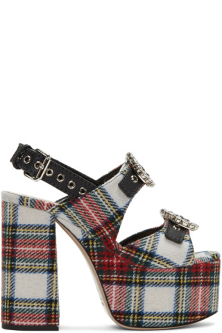 Miu Miu Multicolor Tartan Platform Sandals npd6U