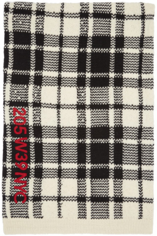 Off-White and Black Embroidered Blanket Scarf CALVIN KLEIN 205W39NYC i5eaKmc