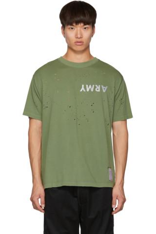 Satisfacer comido 'ejército' polilla camiseta verde la c3TF1JlK