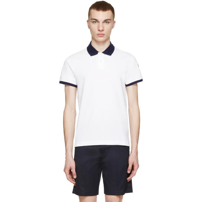 Moncler White Contrast Collar Polo