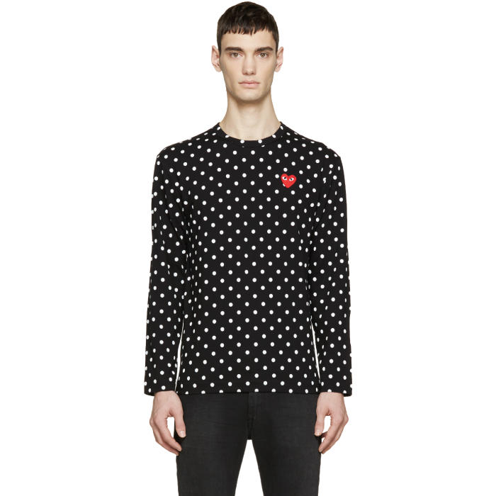 Comme des Garçons Play Black Polka Dot Heart Patch T-Shirt