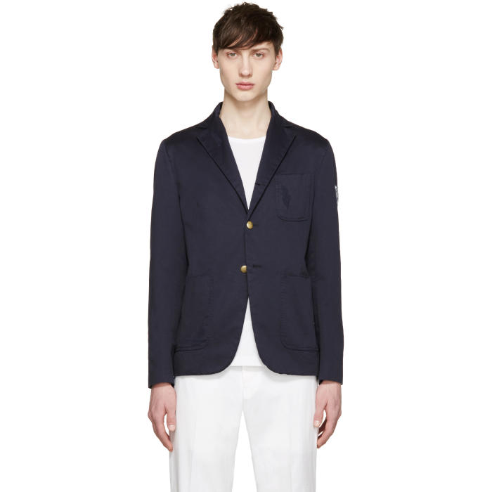 Moncler Gamme Bleu Navy Cotton Distressed Blazer
