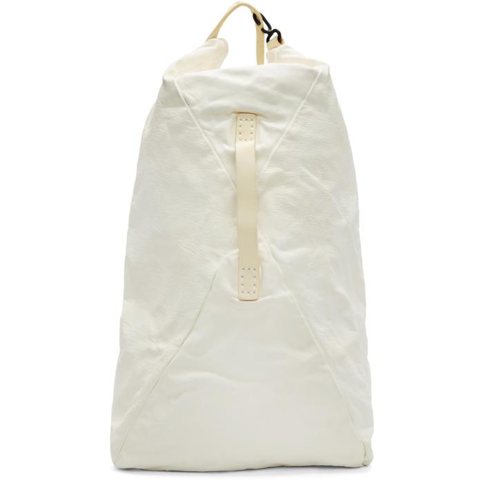 Boris Bidjan Saberi Ivory Washed Leather Backpack