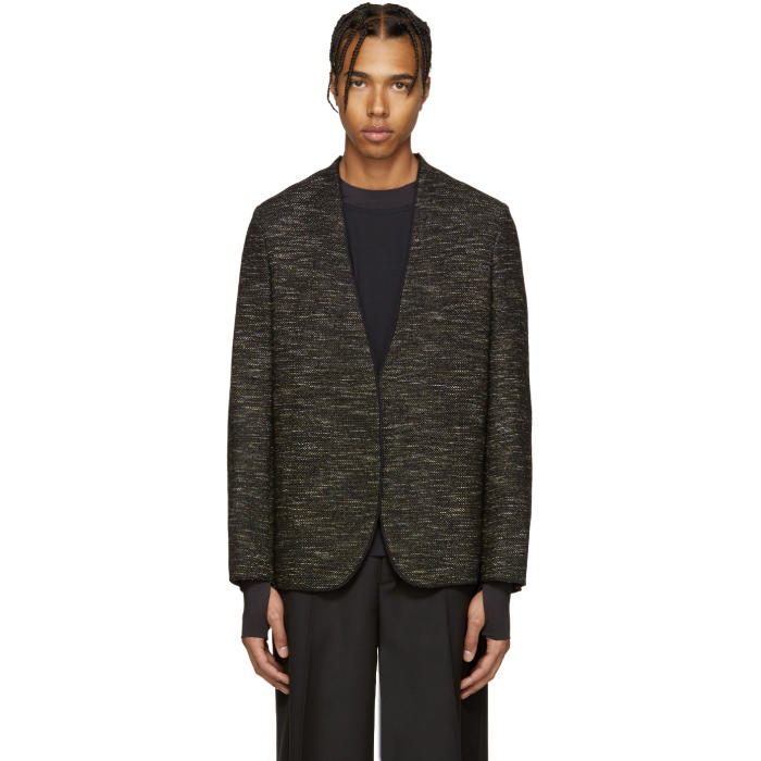 Maison Margiela Black Deconstructed Tweed Blazer