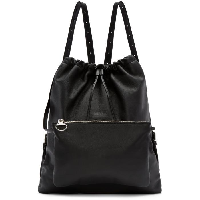 MM6 Maison Margiela Black Leather Drawstring Backpack