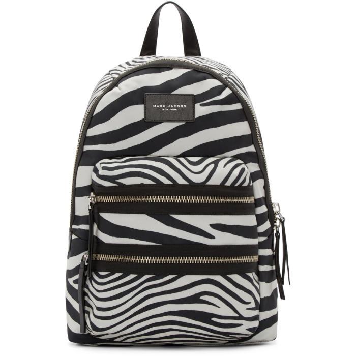 Marc Jacobs Black and Off-White Zebra Biker Backpack