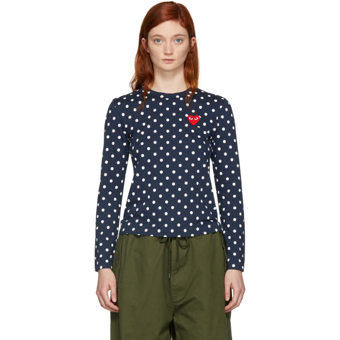 Comme des Garçons Play Navy Polka Dot Heart Patch T-Shirt