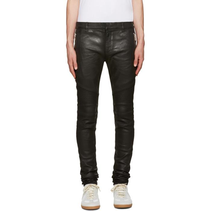 Balmain Black Coated Super Skinny Jeans