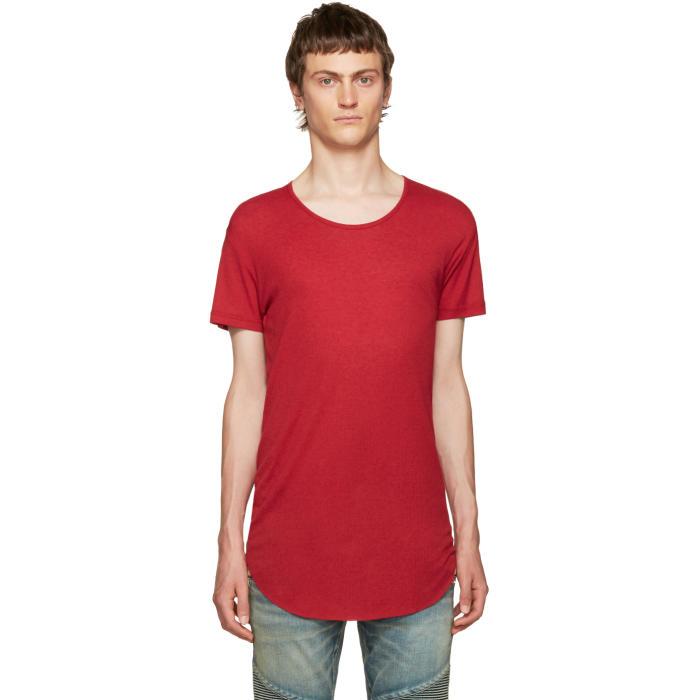 Balmain Red Ribbed T-Shirt