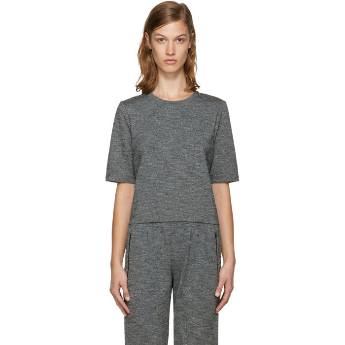 A.P.C. x Outdoor Voices Grey Fitted Cropped T-Shirt