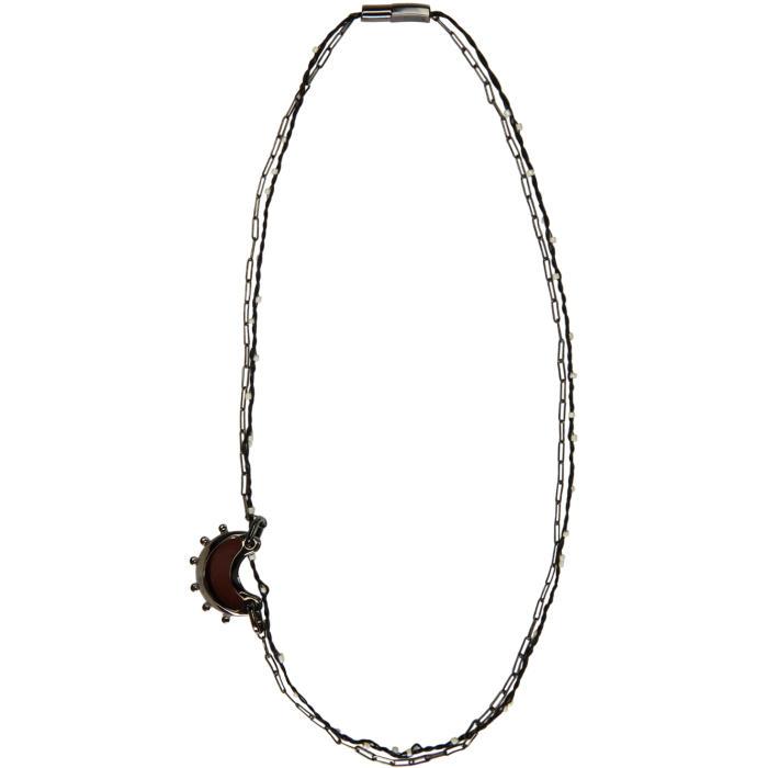 Lanvin Gunmetal Moon Necklace