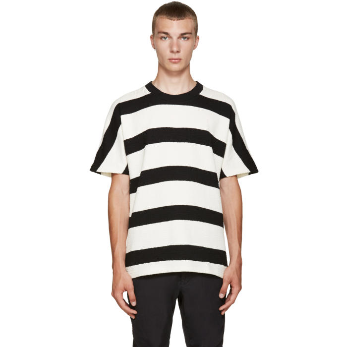 08Sircus Ivory and Black Striped T-Shirt