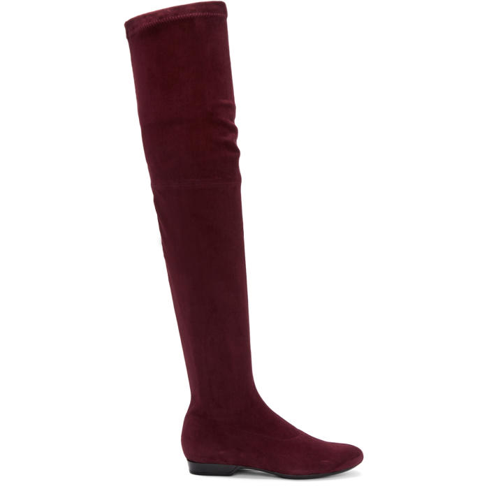 Robert Clergerie Burgundy Suede Fetel Over-the-Knee Boots