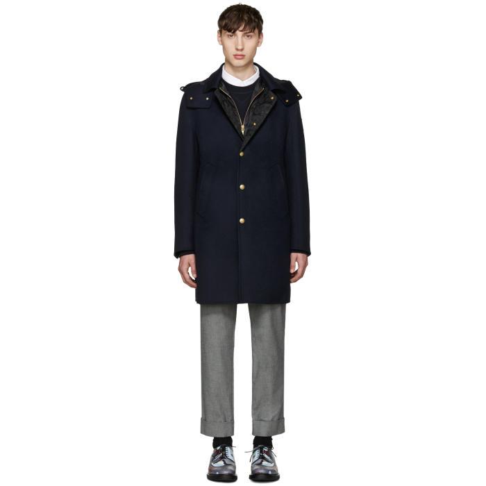 Moncler Gamme Bleu Blue Wool Layered Coat