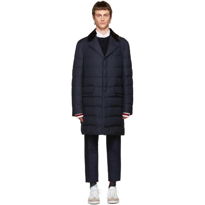 Moncler Gamme Bleu Blue Fur-Trimmed Down Jacket