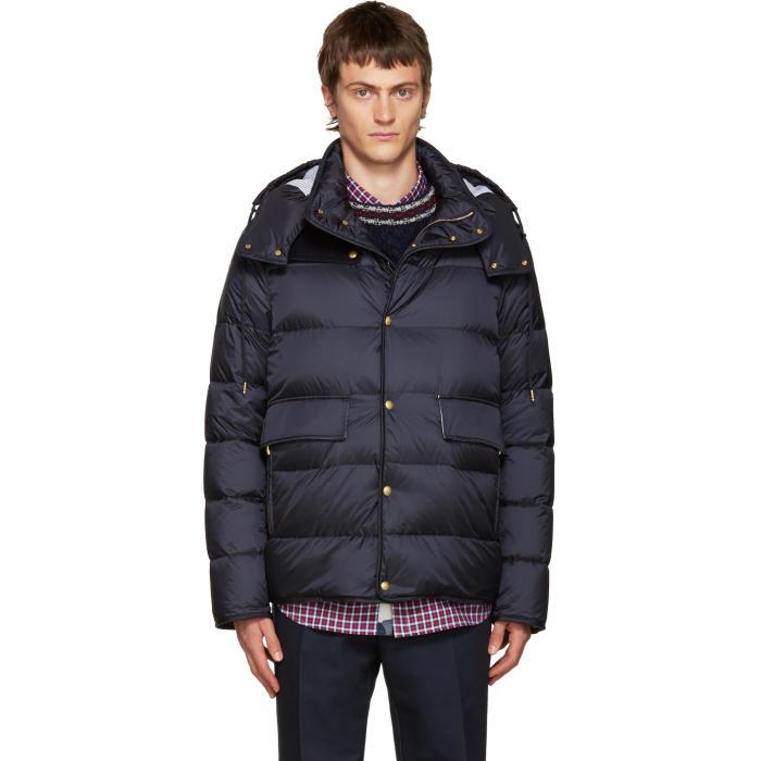 Moncler Gamme Bleu Blue Hooded Down Jacket