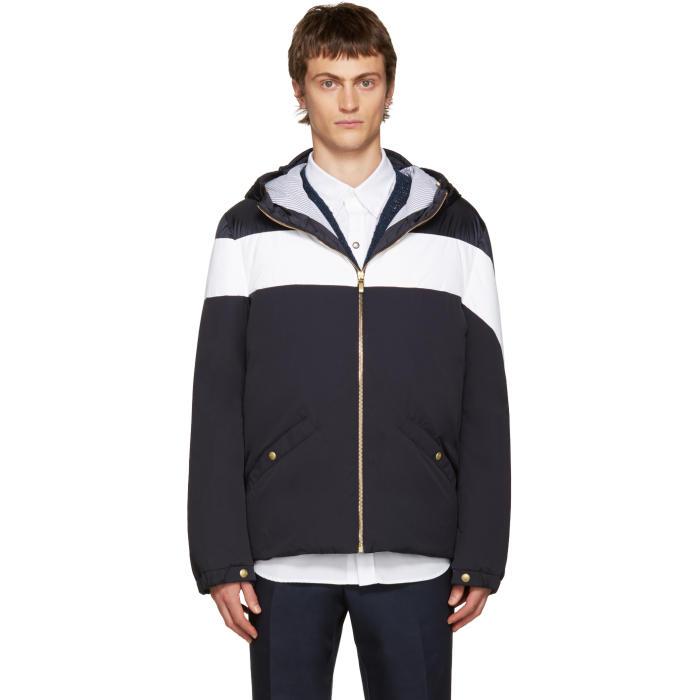 Moncler Gamme Bleu Blue and White Down Jacket