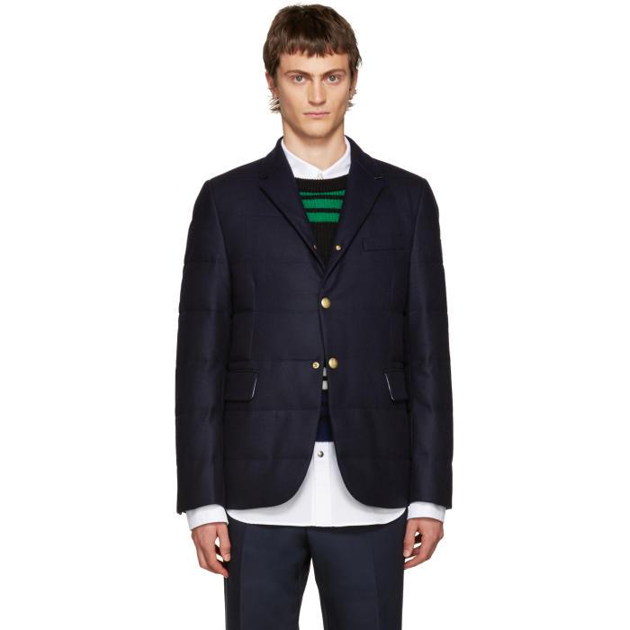 Moncler Gamme Bleu Blue Wool Quilted Down Blazer
