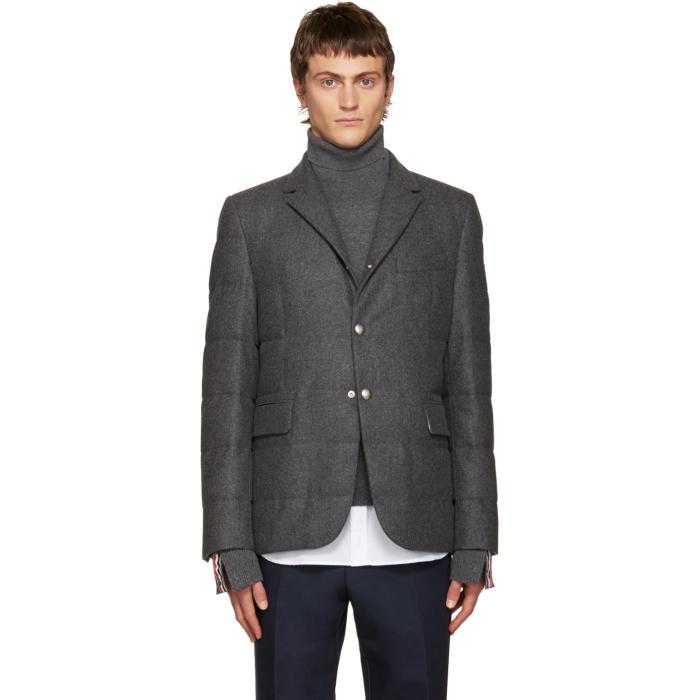 Moncler Gamme Bleu Grey Wool Quilted Down Blazer