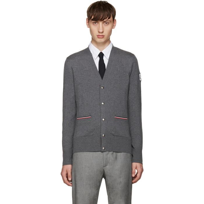 Moncler Gamme Bleu Grey Double Pocket Cardigan