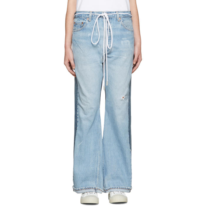 001 Levis Made and Crafted c-o Off-White SSENSE Exclusive Indigo Arrow Straight Join Jeans