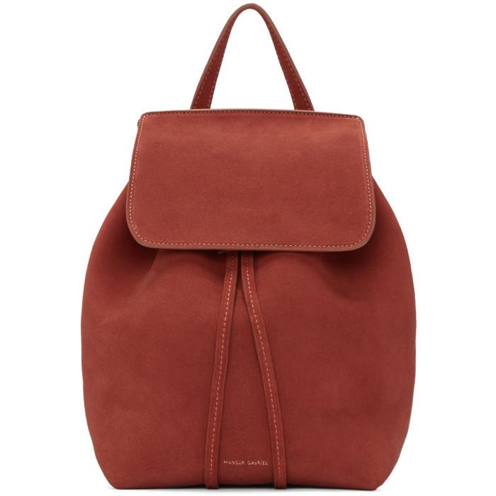 Mansur Gavriel Red Suede Mini Backpack