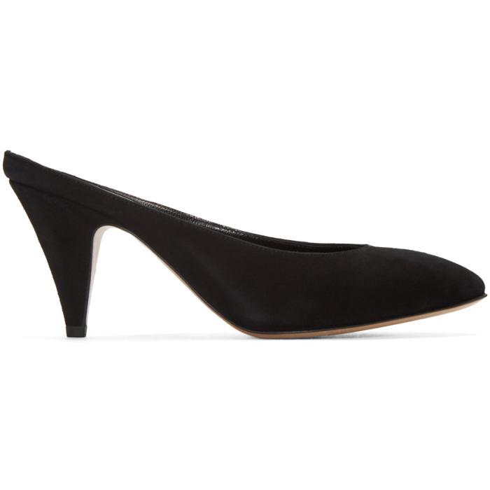 Mansur Gavriel Black Suede Classic Slipper Heels