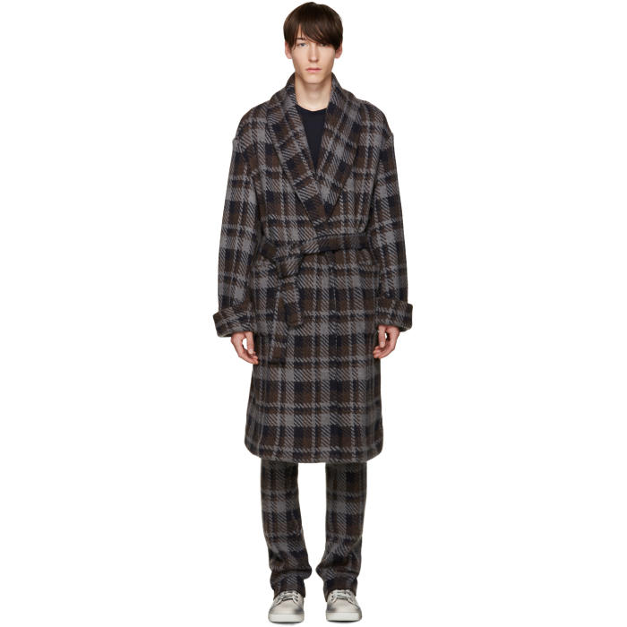 Fendi Grey Check Belted Runway Coat