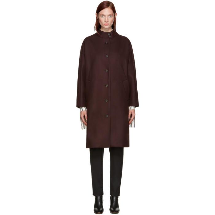 Aalto Burgundy Dropped Shoulder Coat