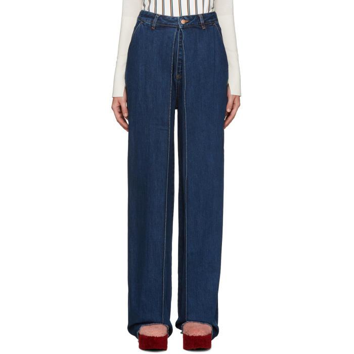 Aalto Blue Pleated Jeans