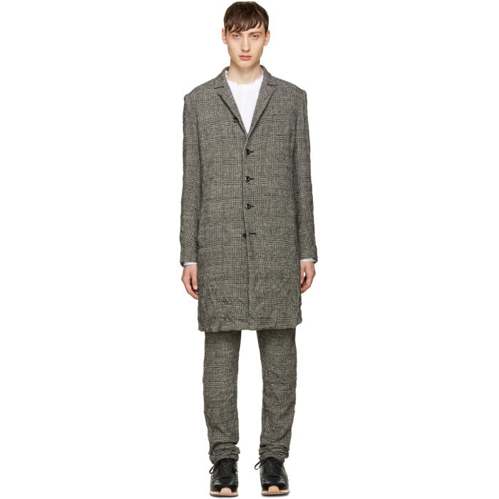 Attachment Black Wrinkled Houndstooth Coat