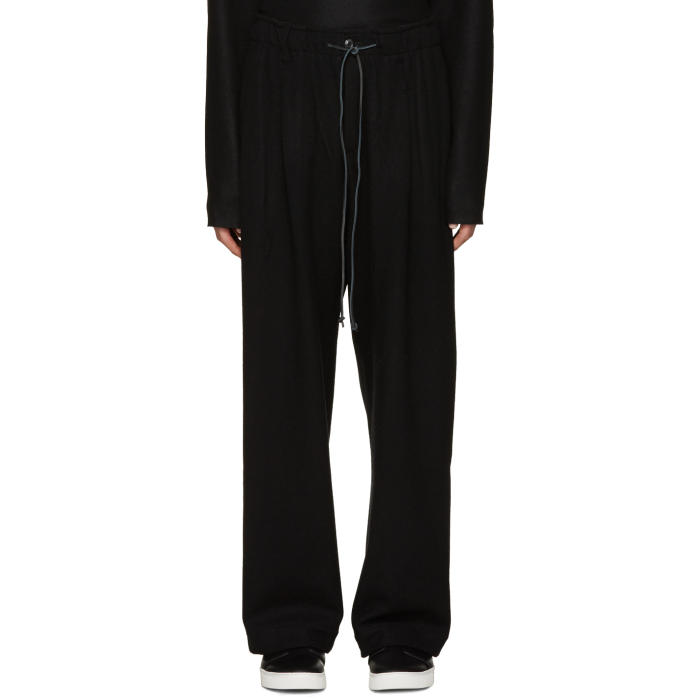 Attachment Black Wool Wide-Leg Trousers