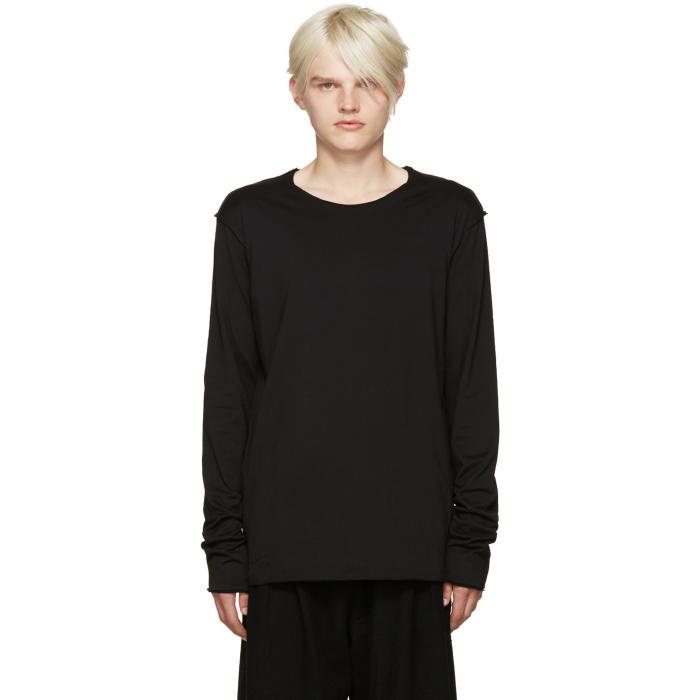 Attachment Black Raw Edge Layered T-Shirt