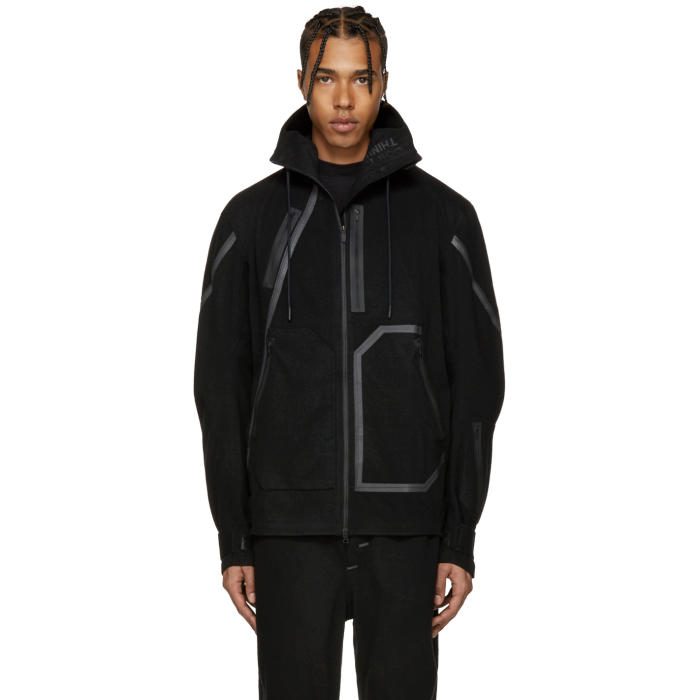 Y-3 SPORT Black Wool Hooded Jacket