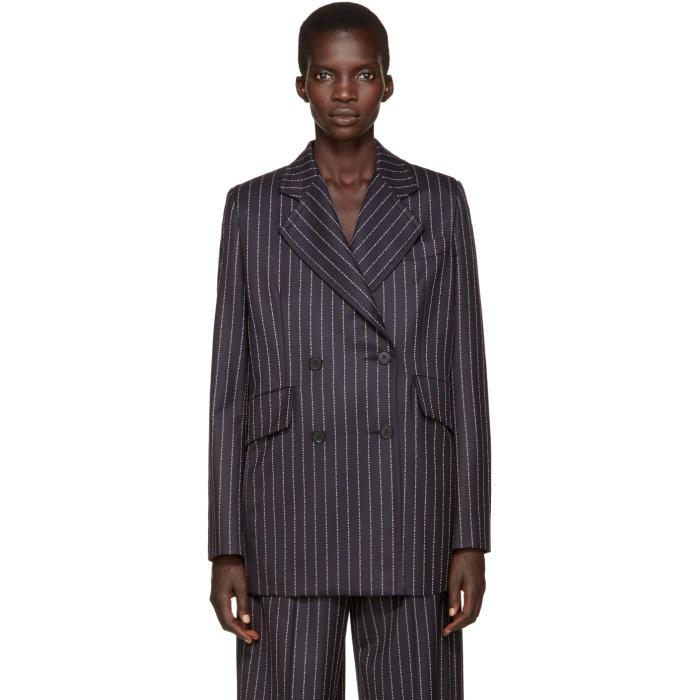 Alyx Navy Wool Pinstripe Blazer