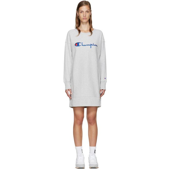 Champion Reverse Weave Grey Logo Pullover Dress
