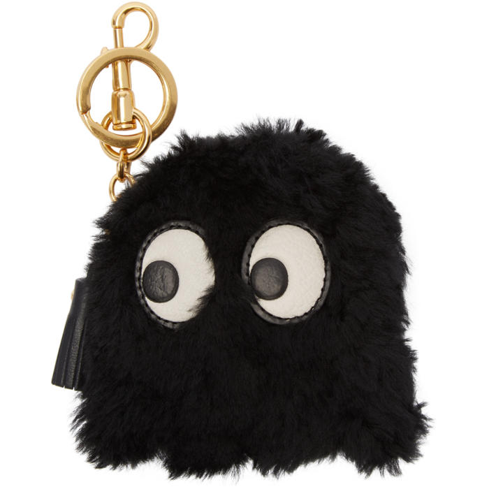 Anya Hindmarch Black Shearling Ghost Keychain