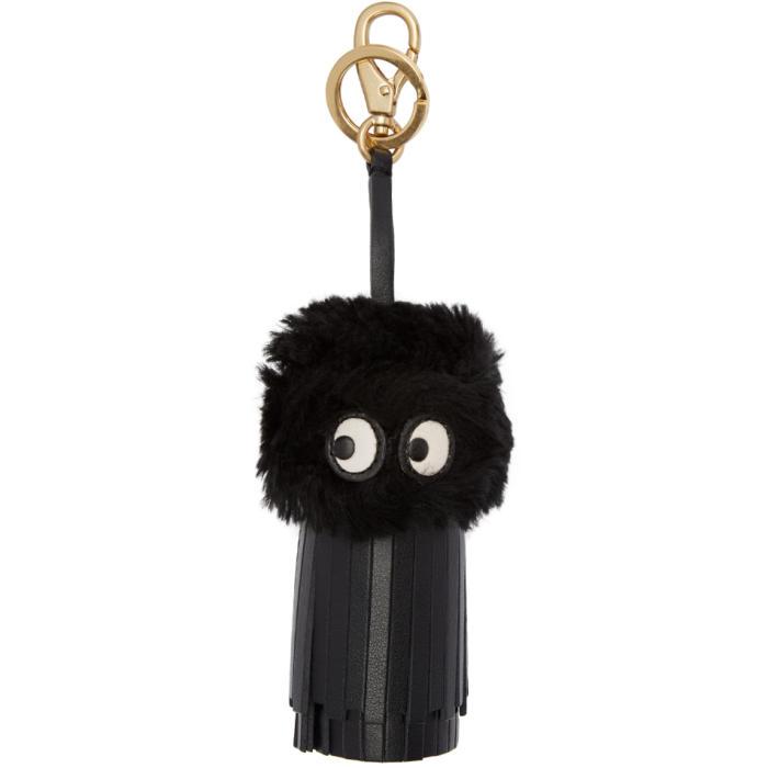 Anya Hindmarch Black Shearling Ghost Tassel Keychain