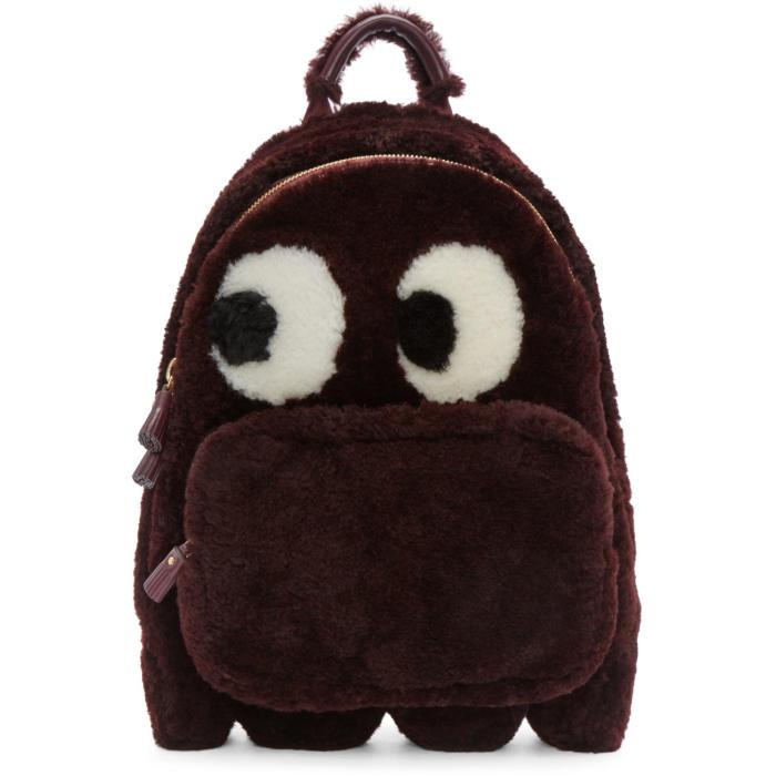Anya Hindmarch Burgundy Shearling Ghost Furry Backpack