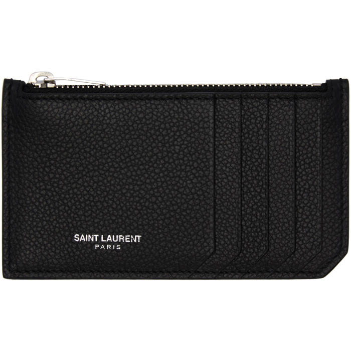Saint Laurent Black 5 Fragments Zip Card Holder