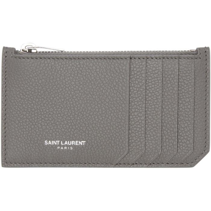 Saint Laurent Grey 5 Fragments Zip Card Holder