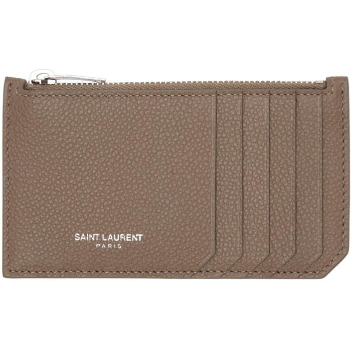 Saint Laurent Taupe 5 Fragments Zip Card Holder