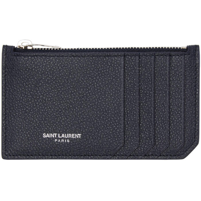 Saint Laurent Navy 5 Fragments Zip Card Holder