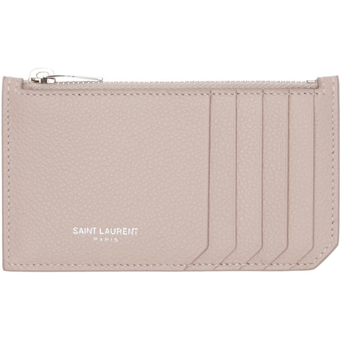 Saint Laurent Pink 5 Fragments Zip Card Holder