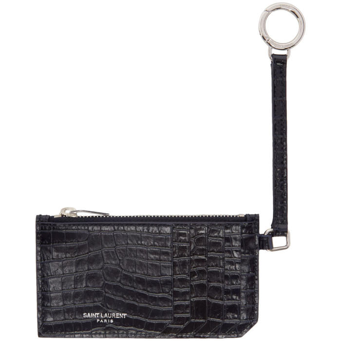Saint Laurent Navy Croc-Embossed 5 Fragments Keyring Zip Card Holder